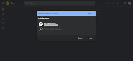Google Keep - Collaborators