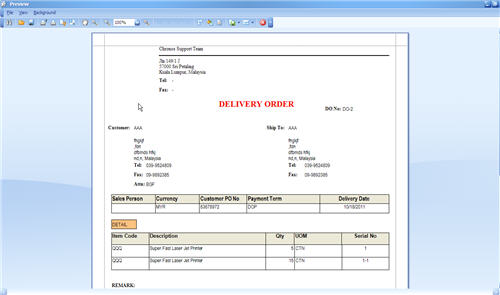 Print Delivery Order