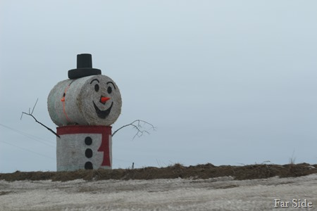 Haybale snowman