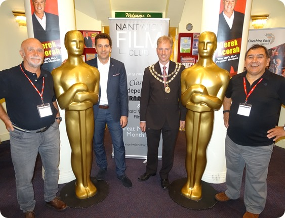 l-r Roger Hinde - MP Edward Timpson - Mayor Andrew Martin  - Mike Tilley