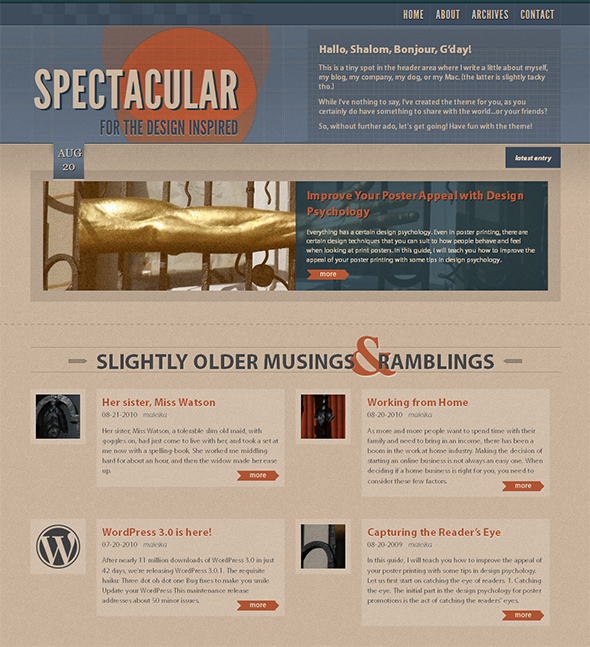Spectacular Vintage WordPress Theme
