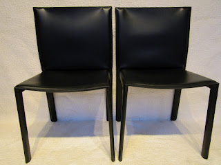 Enrico Pellizoni Black All Leather Chair Pair