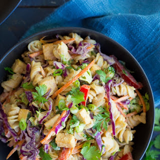 Asian Peanut Pasta Salad with Tofu.