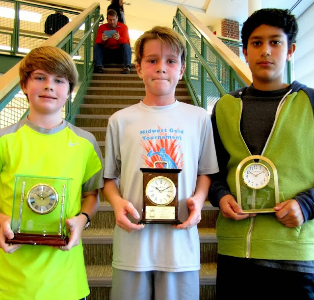 BU 13 winner Pierce Henderson, finalist Samuel Charlton, and 3rd place finisher Rohan Korn