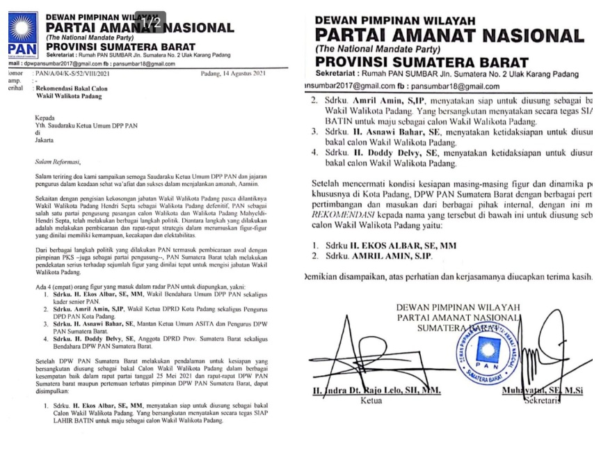 Amril Amin dan Ekos Albar Resmi Direkomendasi DPW PAN Jadi Cawawako Padang