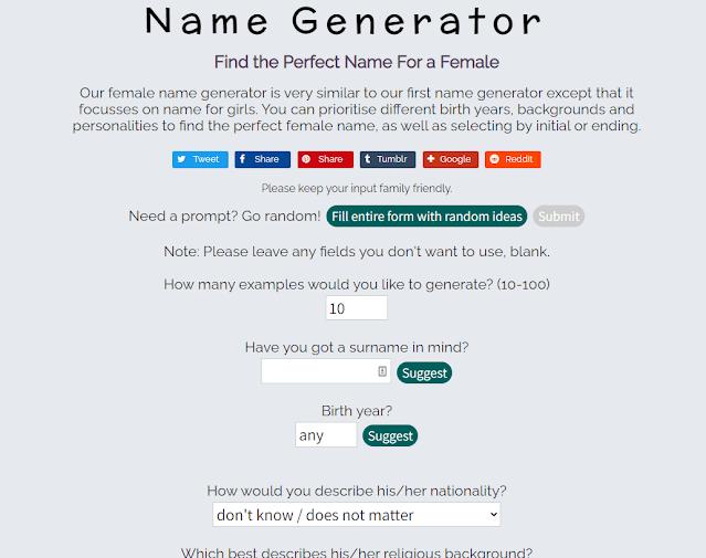 Site gerador de nomes femininos.