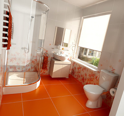 orange bathroom interior 2 Tren Warna 2012: Oranye