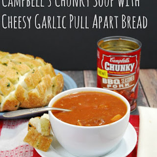 Campbell's Chunky Soup with Cheesy Garlic Pull Apart Bread.