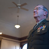 Retired Sgt. Maj. of the Marine Corps Robert Wieser listens as the Lillies of the Valley sing to the Marine Corps Hymn at the Ravalli County Museum on Veterans' Day. Wieser served from 1950 to 1981 in the Marine Corps Reserve and fought in Korea. Photo by Tim Goessman.