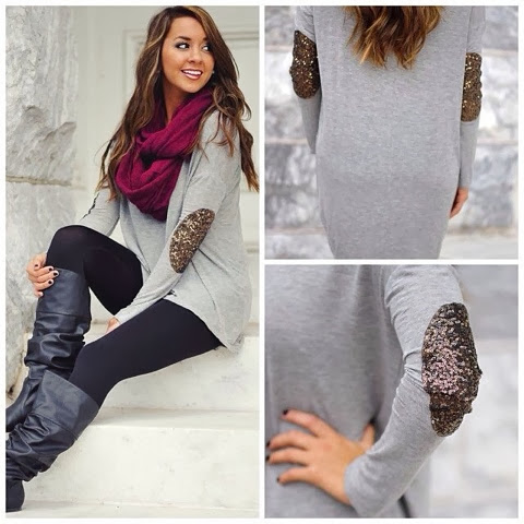 Grey long sweater with gold rush elbow patches, black leggings, purple scarf and long black boots for fall