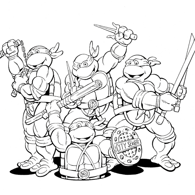 Free Coloring Pages Ninja Turtles Design