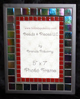 "Black Gold & Maroon 5"" x 7"" Mosaic Photo Frame MOF1388"