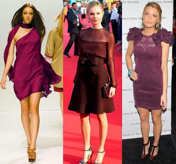 d2241504ab O marrom também pode ser uma opção, principalmente para vestidos ameixas  com tons mais amadeirados. Alguém já usou marrom com roxo?