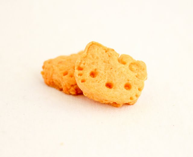 close-up photo of two Hello Kitty Cheddar Crackers