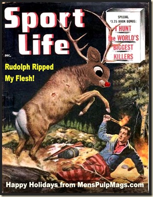 SPORT LIFE, Dec 1955 Xmas spoof, Mort Kunstler art REV