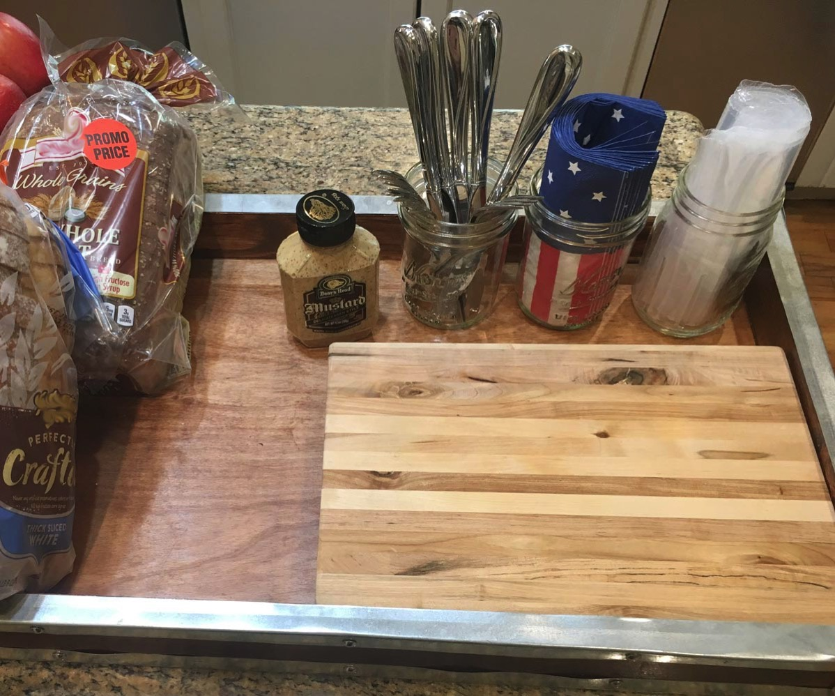 Setting up kids lunch station