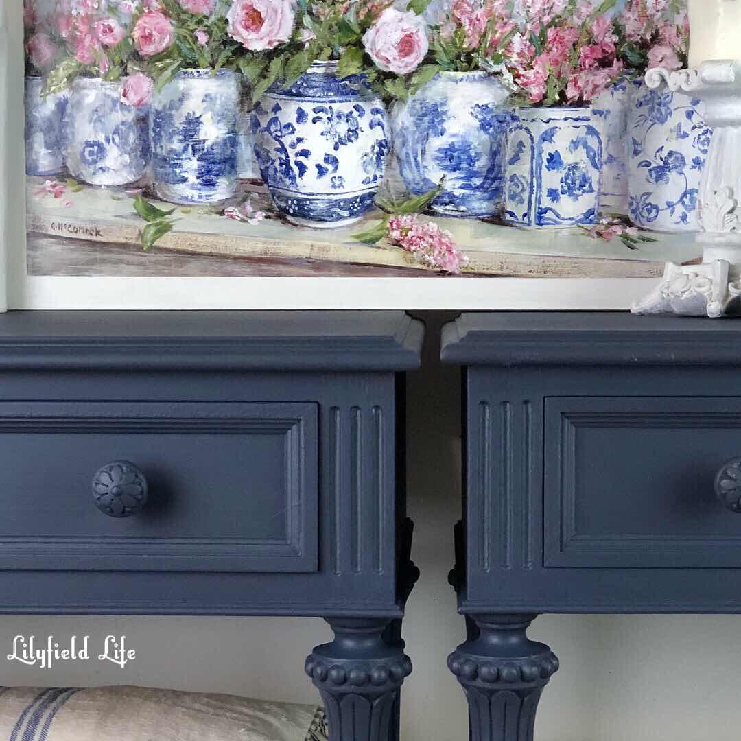 vintage navy bedside tables Lilyfield life