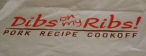 Photo: Contestants received Dibs on My Ribs aprons and shirts. Cute logo.