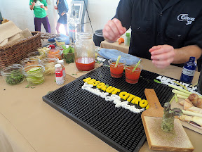 Portland Monthly's Country Brunch 2013, Bloody Mary Smackdown, Circa 33 and adorable Spencer Conger delivered The Experiment #3 with a Pan-Asian style Bloody Mary that included lemongrass, togarashi spice, fish sauce, freshly grated wasabi, tami, galanga root, and a little chili and a dried shrimp. Seriously, OMG