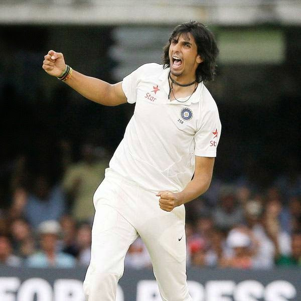 India's Ishant Sharma celebrates the wicket of England's Ian Bell during the fourth day of the second test match between England and India at Lord's cricket ground in London, Sunday, July 20, 2014.
