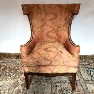 Custom Jacquard Wing Chair