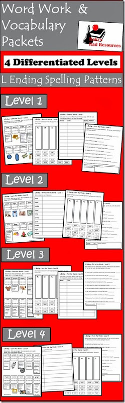 Vocab Packets - L Endings - Free Download from Raki's Rad Resources