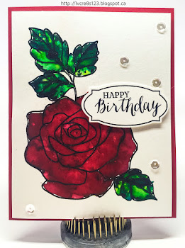 Linda Vich Creates: Rose Wonder Meets Color Burst. The lovely Rose Wonder stamp has been stamped in black and clear embossed to allow it to be painted with the lovely Color Burst watercolors.