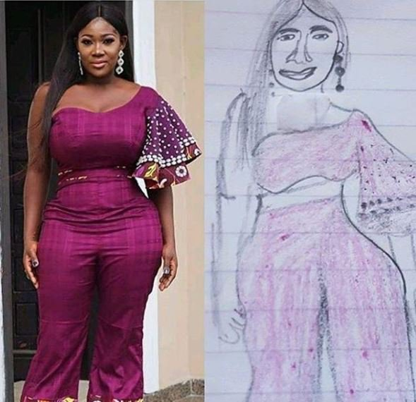 Mercy Johnson's hilarious reaction to a pencil sketch of herself