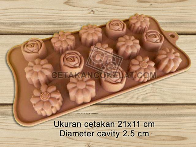 cetakan coklat cokelat silikon bunga SIL077 SIL77