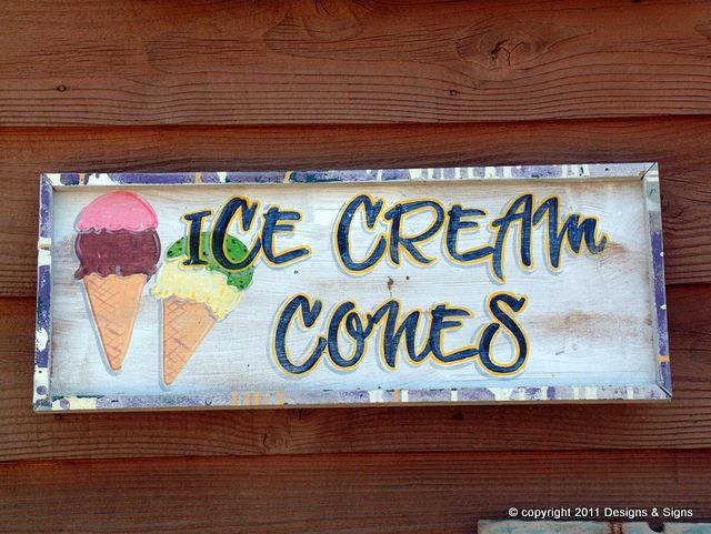 faux antique signs - ice cream