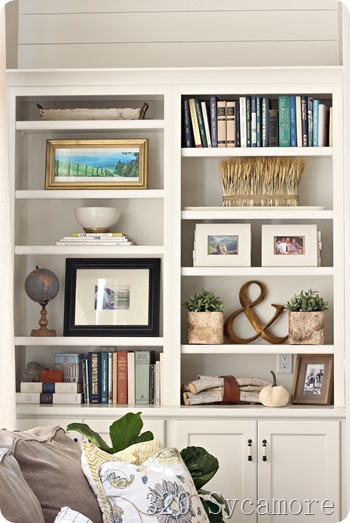fall bookshelves bookcase styling