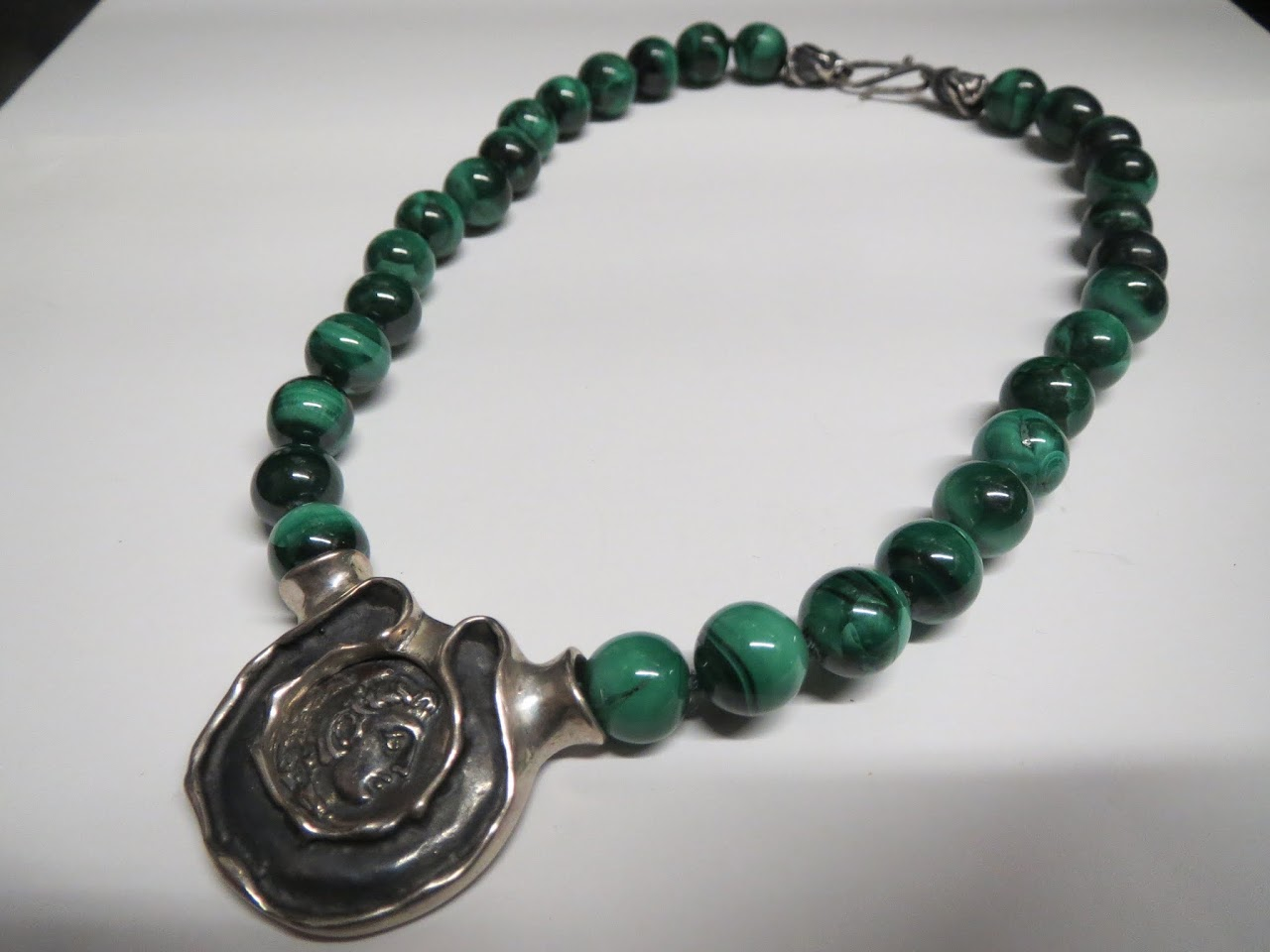 Sterling and Malachite Necklace