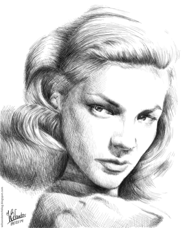 Pencil drawing of Lauren Bacall.