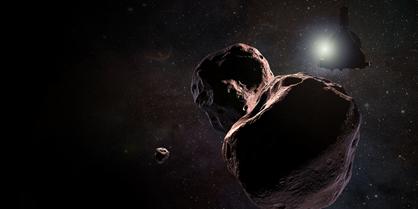 ilustração do 2014 MU69 e de uma pequena lua