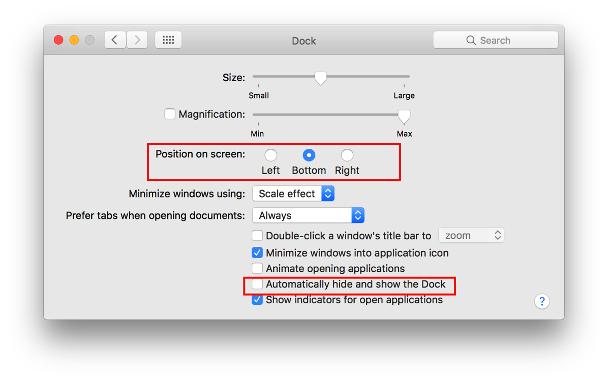 7 the Dock Preferences shown in detail