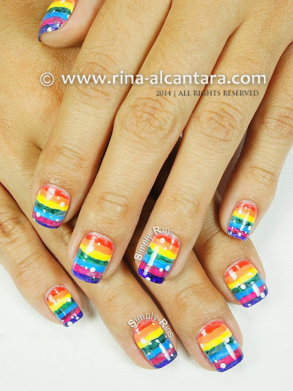 Washed Out Rainbow Nail Art Design by Simply Rins