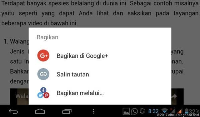 Pilihan Berbagi pada HP Android