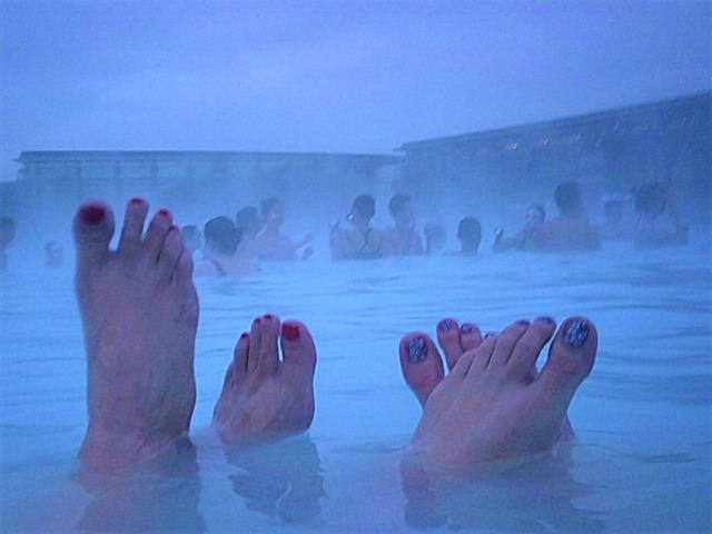 relaxing in Blue Lagoon hot pools Grandivik Iceland