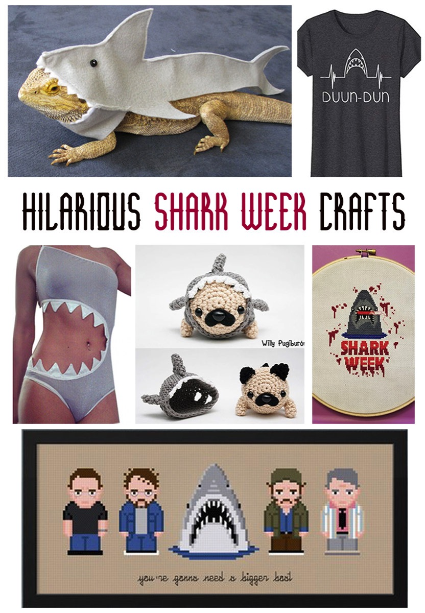 Hilarious shark week crafts.  Crochet, cross stitch, sewing and tshirt ideas, perfect for Shark Week..