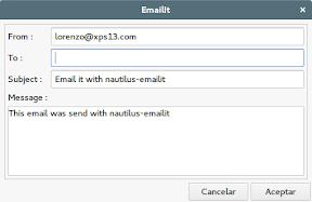 Enviar archivos por correo electrónico al móvil. Diálogo.