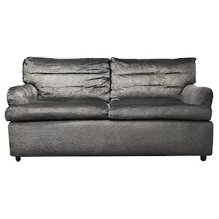 Patterned Velvet Scroll-Arm Sofa