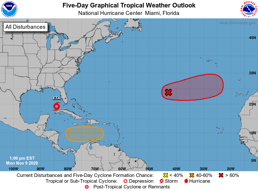 Centro de Huracanes dice que dos ciclones pueden surgir en el Atlántico