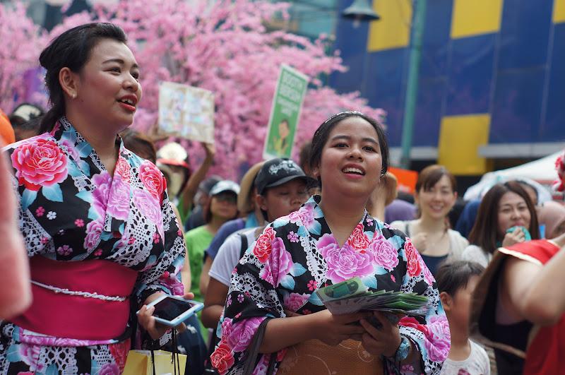 Yukata dengan latar sakura, serasa di Tokyo saja