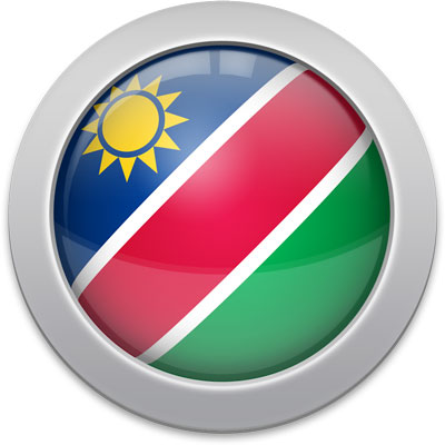 Namibian flag icon with a silver frame