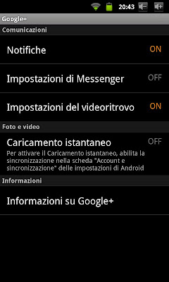 Google+ per Android 2.6 - preferenze