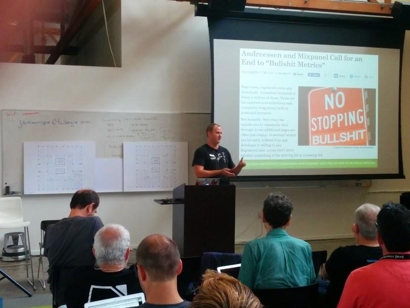 James Falker, from Liferay, talking about bullshit metrics like downloads, etc.