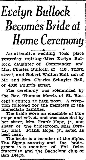 HALL_Robert W Sr article in SD Evening Tribue re marriage to Evelyn BULLOCK Jul 1929_SanDiegoCA_cropped