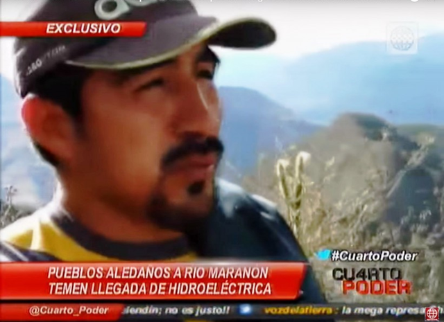 Still from video by Peru's news program Cuarto Poder, featuring activist Hitler Ananías Rojas Gonzales. Gonzales, 34, was shot five times the morning of 28 December 2015 as he walked to his house. He'd been fielding death threats and insults for years for his activism against a hydroelectric dam project that would exploit the waters of the Marañón River, one of the most important in the Amazon basin. Photo: Cuarto Poder / mongabay.com
