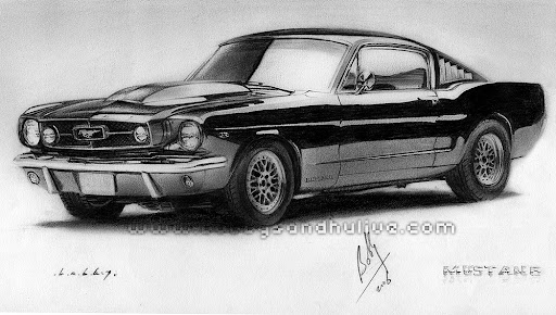 Cars Drawings Mustang Car Drawings in Pencil Mustang