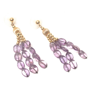 14K Gold and Amethyst Pendant Earrings